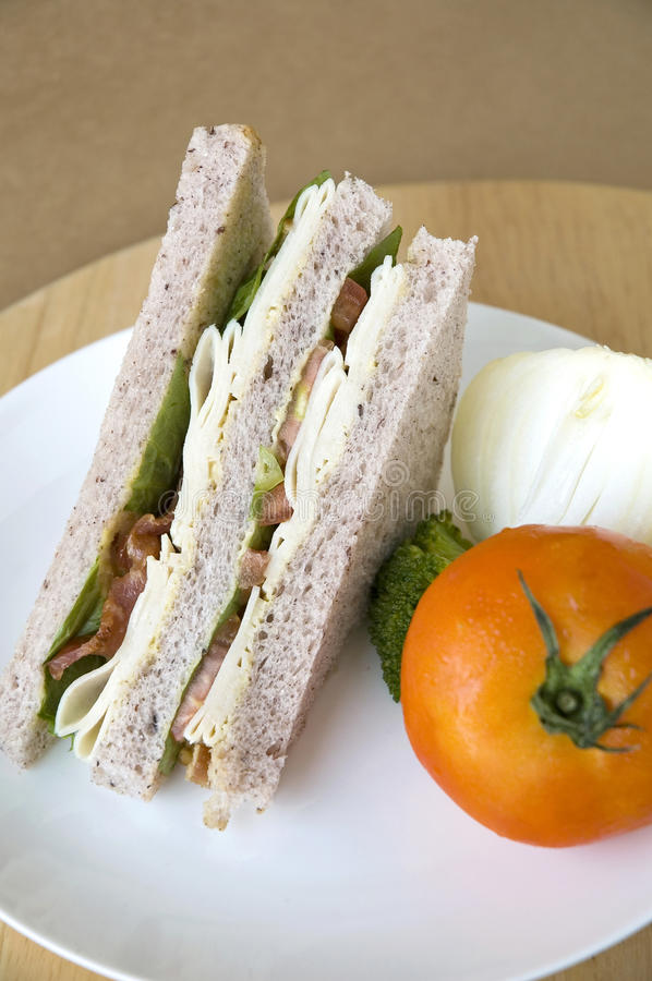 Download Sandwich on white plate stock image. Image of grain, restaurant - 29501445