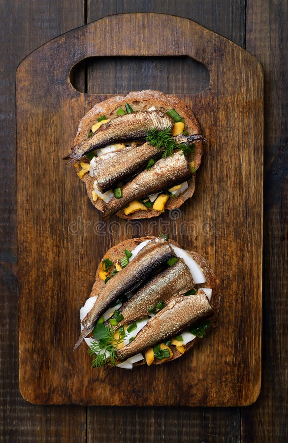 Free Sandwich With Sprats Royalty Free Stock Photos - 79420038