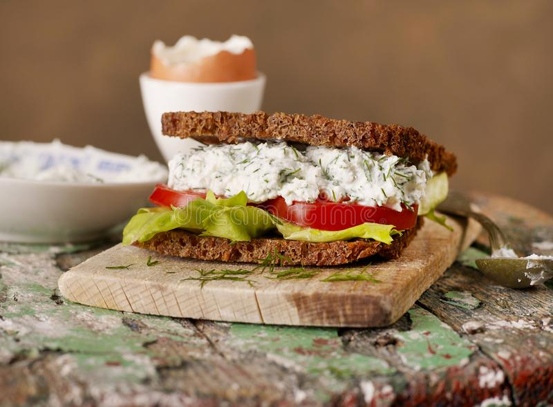 Sandwich on wood royalty free stock photography