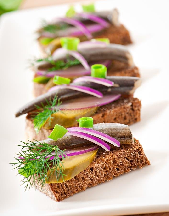Sandwiche des Roggenbrotes mit Heringen stockfotografie