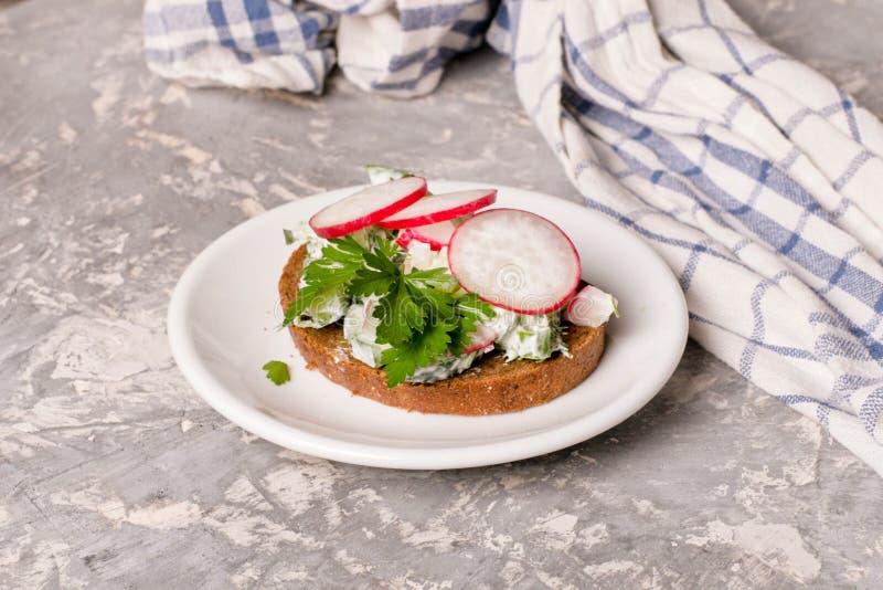 Sandwiche mit Hüttenkäse, Rettich und Gurke, Petersilie lizenzfreie stockfotografie