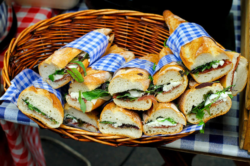 Download Sandwiches stock photo. Image of organic, baguette, basket - 19997444