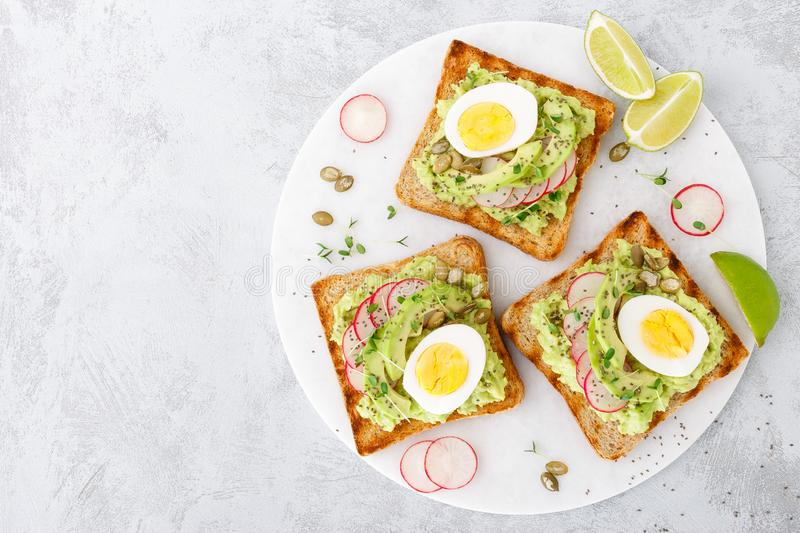 Sandwiches with avocado guacamole, fresh radish, boiled egg, chia and pumpkin seeds. Diet breakfast. Delicious and healthy plant-b. Ased trend food. Flat lay royalty free stock images