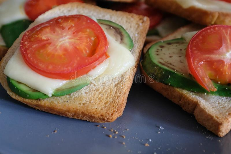Sandwiches with avocado stock photography