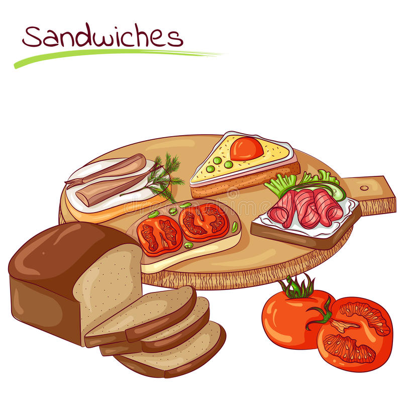Sandwiches and bread. Vector illustration of sandwiches and bread isolated on white background. Food Icon. Design for cookbook, restaurant business. Series of stock illustration