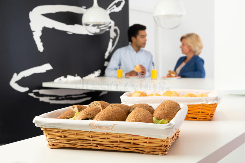Sandwiches in cafeteria royalty free stock photos