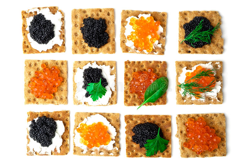 Sandwiches with caviar stock images
