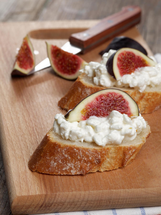 Sandwiches with cheese and figs stock photo