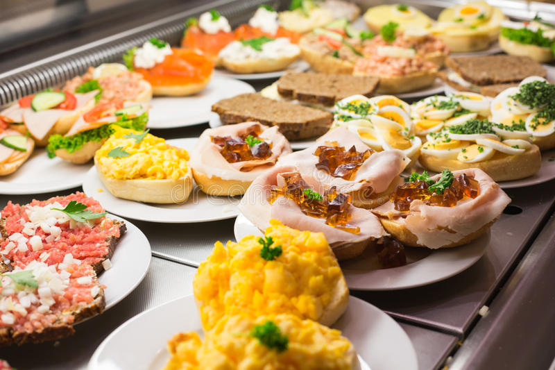 Sandwiches with cold cuts on a tray stock images