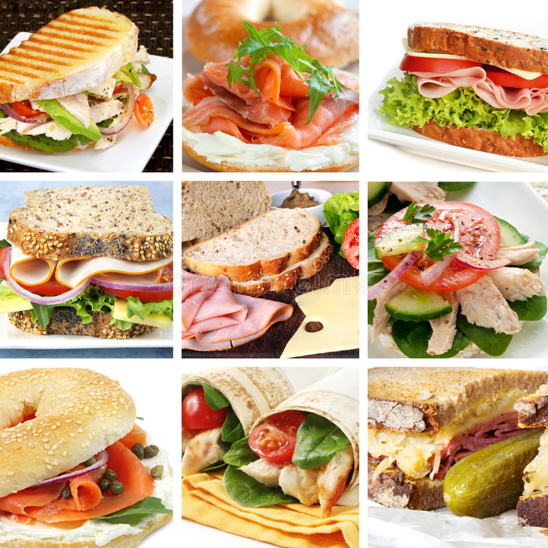 Sandwiches Collage stock photos