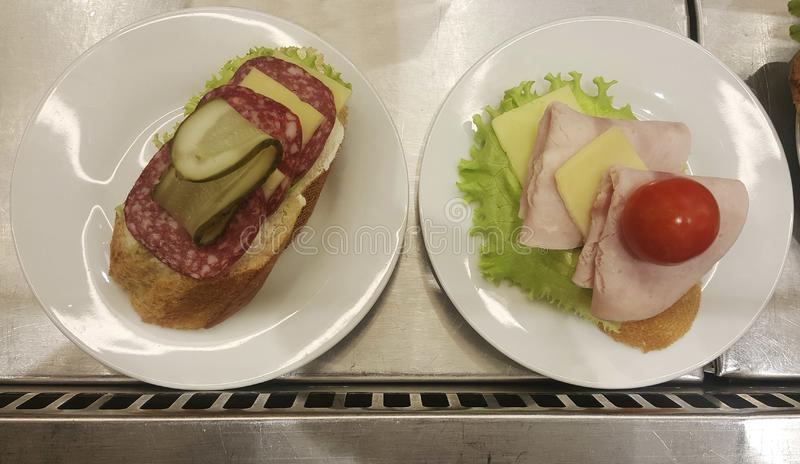 Sandwiches on the counter. royalty free stock photo
