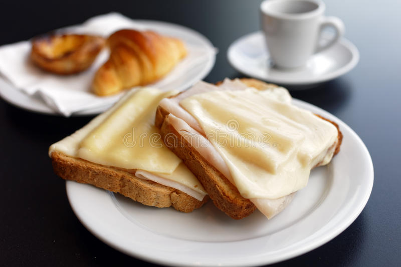 Sandwiches and croissant royalty free stock photography