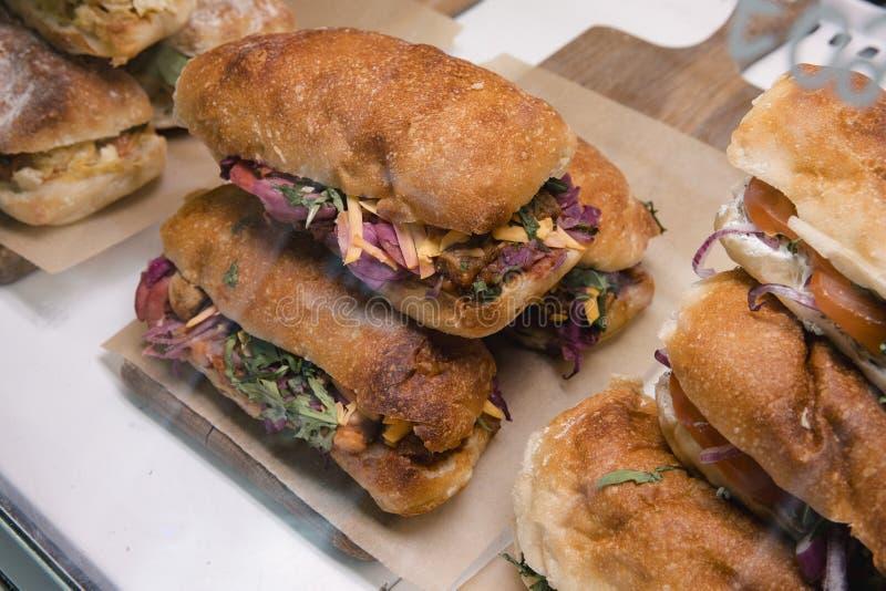 Sandwiches on Display stock photos
