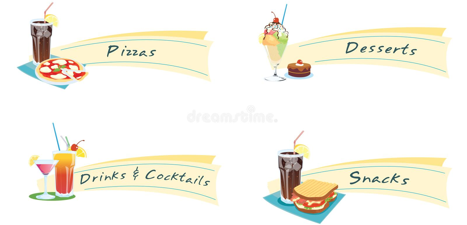 Sandwiches and drinks. Illustrations of food and drinks for a menu royalty free illustration