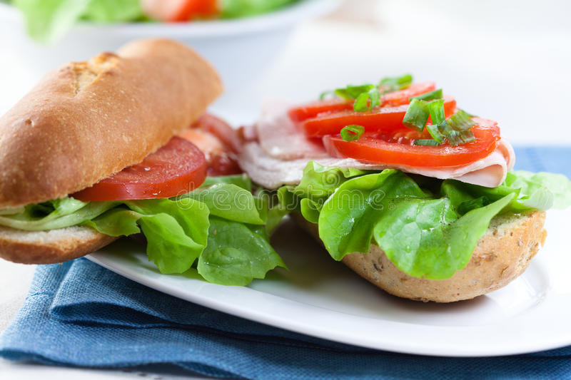 Sandwiches with fresh vegetables stock photography