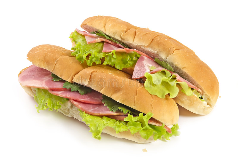 Sandwiches with ham and vegetables royalty free stock photos