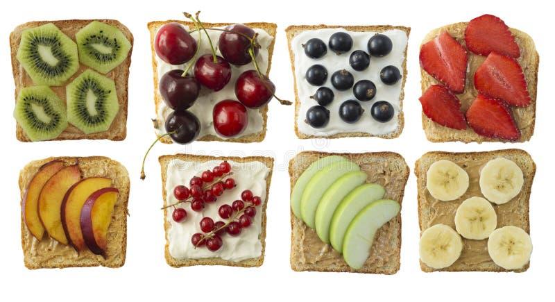 Sandwiches met pindakaas en roomkaas royalty-vrije stock foto