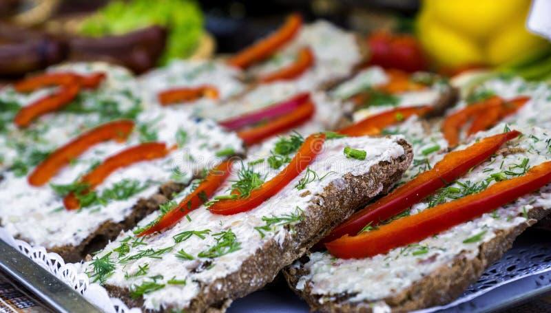 Sandwiches met reuzel en greens royalty-vrije stock foto's