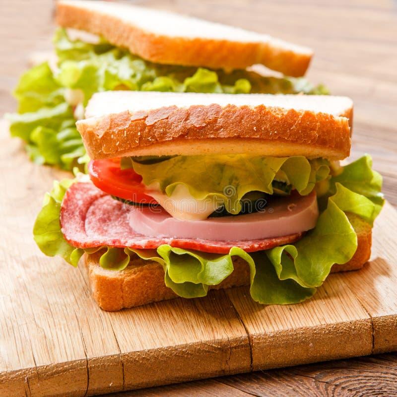 Sandwiches met salade en ham stock fotografie