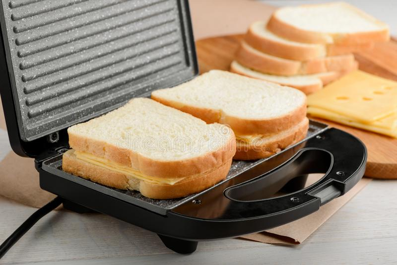 Sandwiches in a panini maker stock image