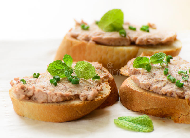 Sandwiches with paste and green onions. royalty free stock photography