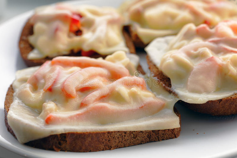 Sandwiches on a plate stock photography