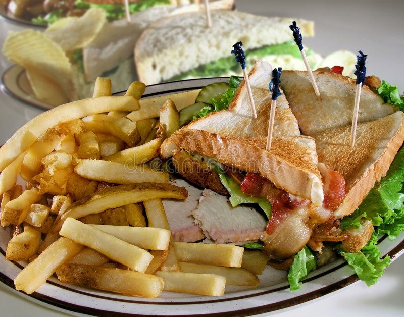 Sandwiches on Plates stock photography