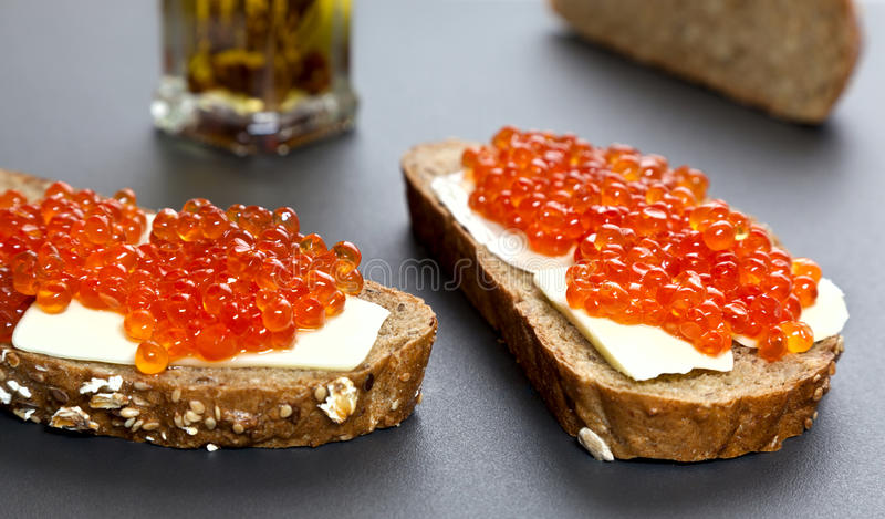 Sandwiches With Red Caviar Royalty Free Stock Image
