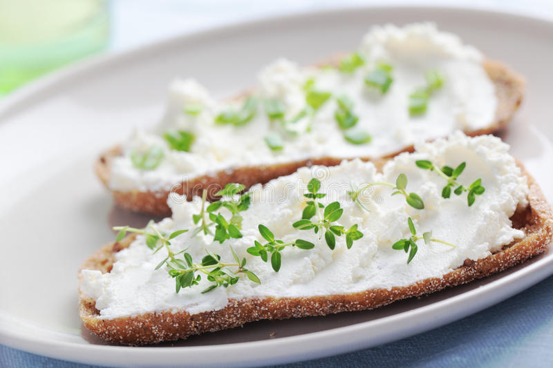 Sandwiches with soft cheese stock photo
