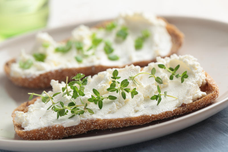 Sandwiches with soft cheese stock images