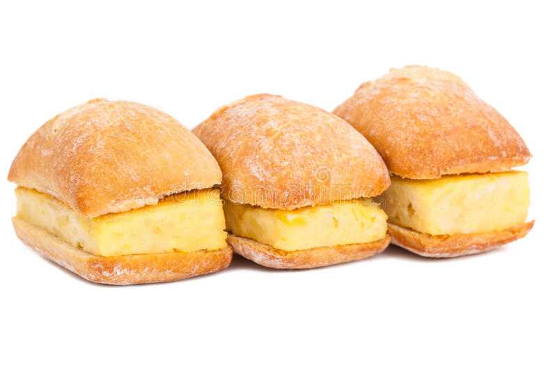 Sandwiches Of Spanish Tortilla On White Royalty Free Stock Image