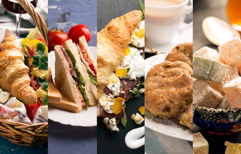 Sandwiches and sweets. Collage from photos of different sandwiches and sweets stock images