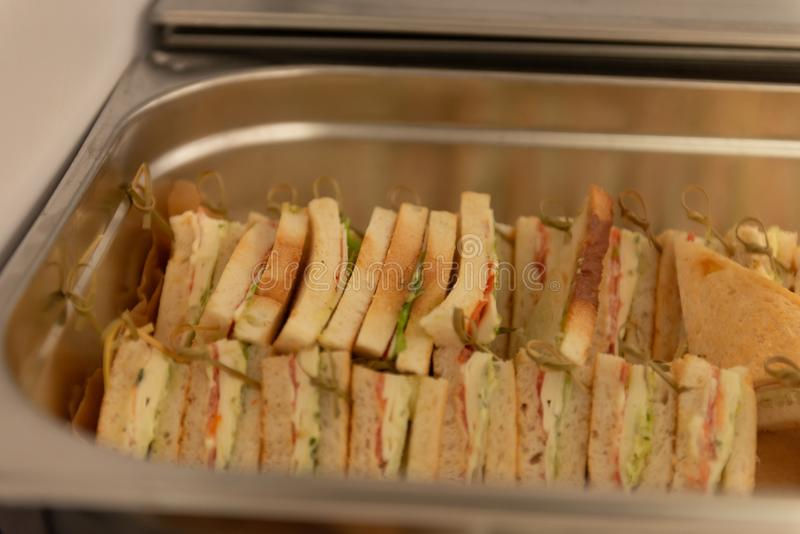 Sandwiches in the tray royalty free stock image