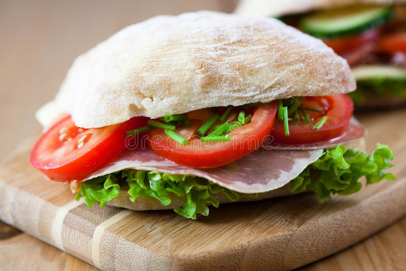 Sandwiches with vegetables and ham royalty free stock image