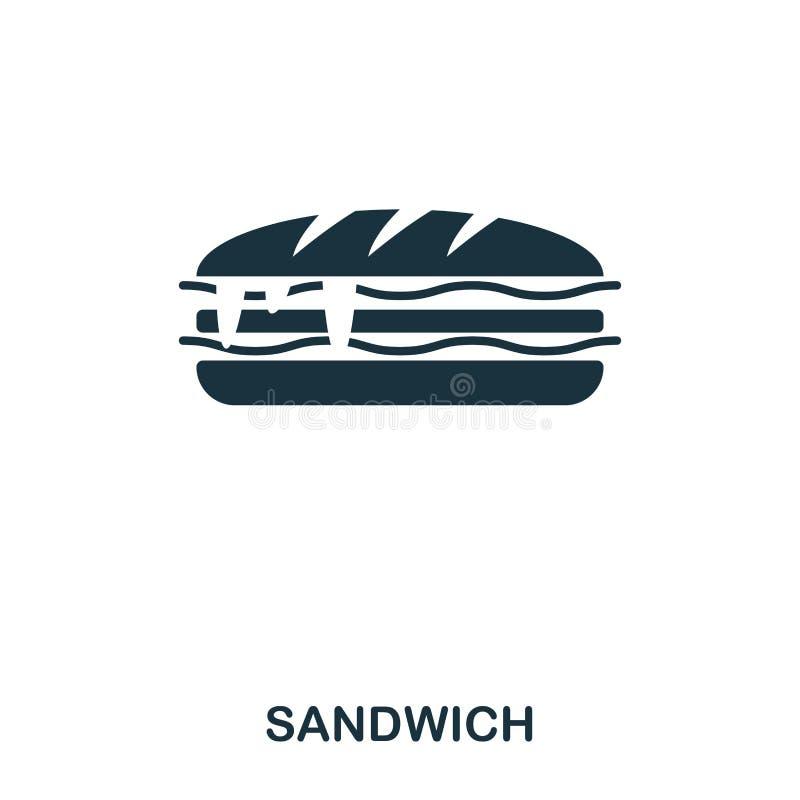 Sandwichikone Bewegliche apps, Drucken und mehr Verwendung Einfaches Element singen Einfarbige Sandwichikonenillustration lizenzfreie abbildung
