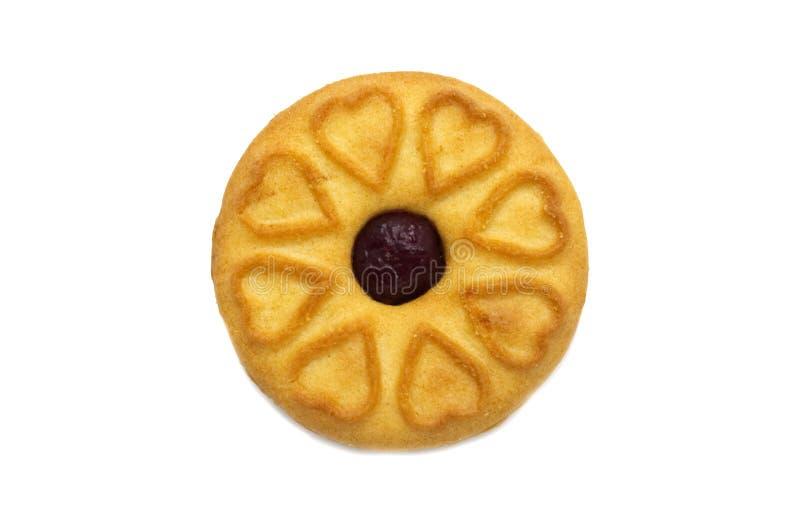 Sandwichkoekjes met een op smaak gebrachte die Bosbessenjam en een snoepje worden gevuld stock afbeelding