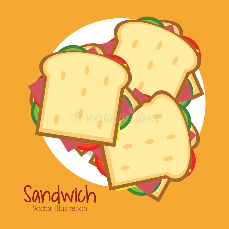 Sandwichplatten-Brotmittagessen-Snackikone vektor abbildung