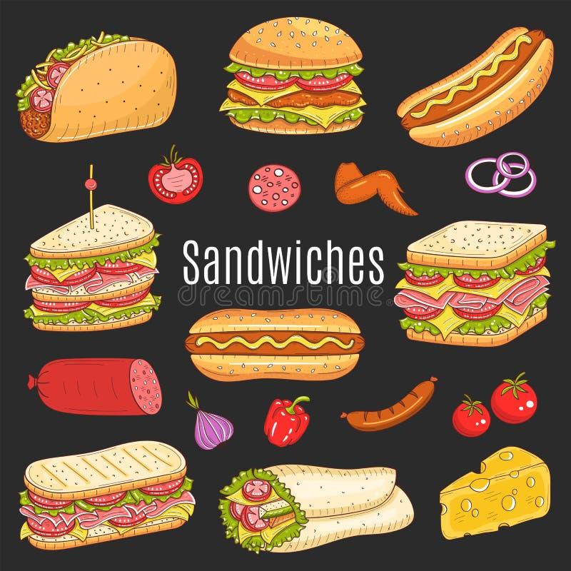 Sandwichreeks, vectorschetsillustratie stock illustratie