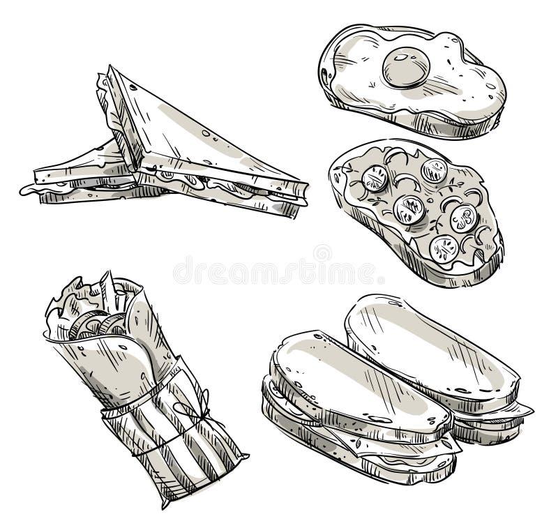 Sandwichs Aliments de préparation rapide casse-croûte Croquis de vecteur illustration stock