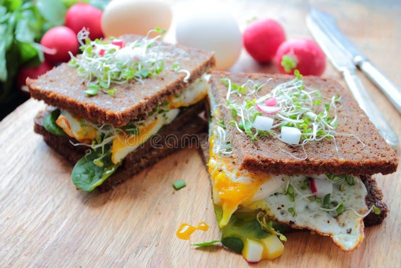 Sandwichs sains avec les oeufs pochés images stock