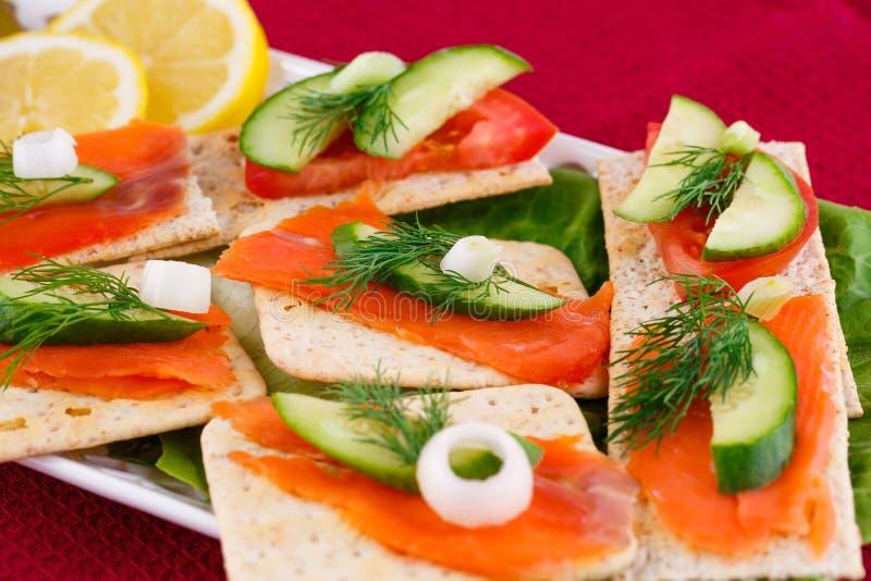 Sandwichs saumonés images stock