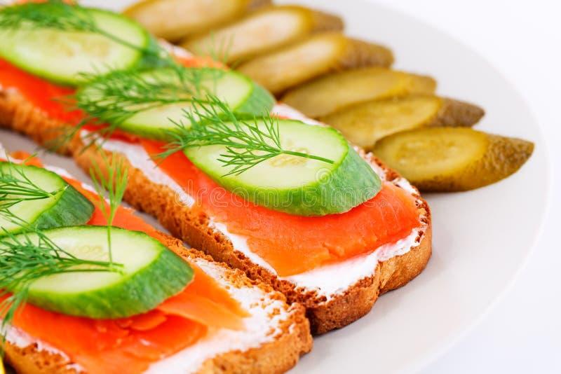 Sandwichs saumonés photos libres de droits