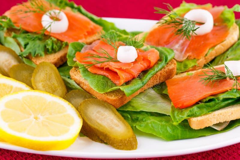 Sandwichs saumonés image libre de droits