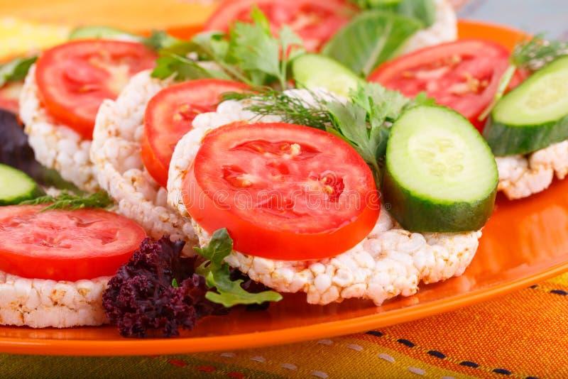 Sandwichs soufflés à biscuits de riz photo libre de droits
