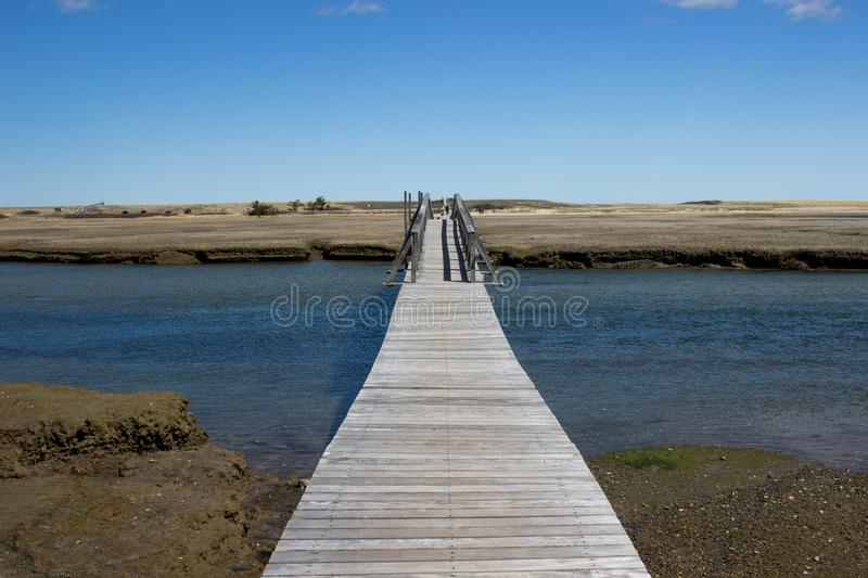 Sandwitch boardwalk beach at Cape Cod Massachusetts. Empty Sandwitch boardwalk beach in spring sunny day at Cape Cod Massachusetts, famous vacation dectination royalty free stock photo