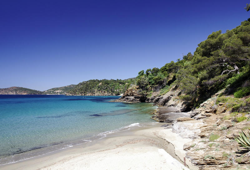 Sandy Bathing Bay On Southern France Stock Images