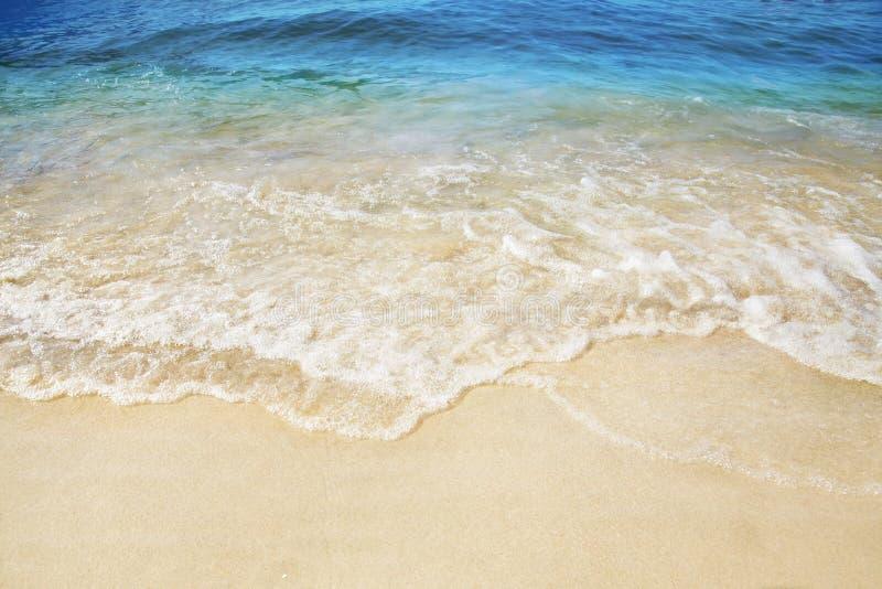 Sandy Beach Éclaboussement des vagues sur le bord de la mer photos libres de droits