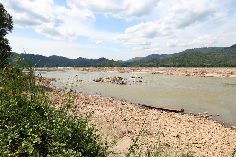 Sandy beach along the banks of the Mekong River. At lower tide in Pak Chom District, Loei Province, Thailand royalty free stock photos