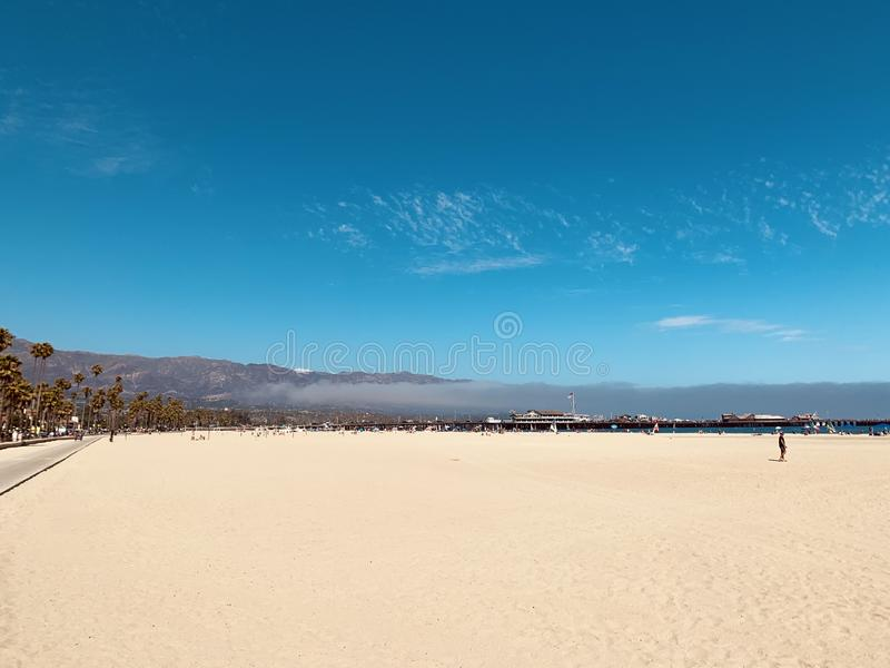 Sandy beach along the pacific.  Harbor – Port Marina del Rey, Santa Barbara, California.  royalty free stock photo