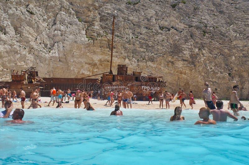 Sandy Beach and Blue Water, Navagio Beach, Zakynthos Greek Island, Greece royalty free stock photo